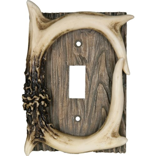 Rivers Edge Products 551  Deer Antler Single Switch Electrical Cover Plate CVR - Rustic Light Switch Covers