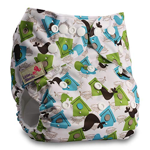 Reusable Pocket Cloth Nappy with 1 Bamboo Insert Littles /& Bloomz Fastener: Popper Set of 1 Pattern 78