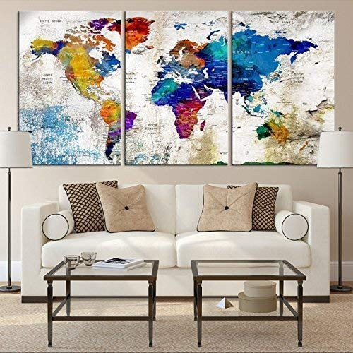 XL World Map Push Pin Wall Art Canvas Print