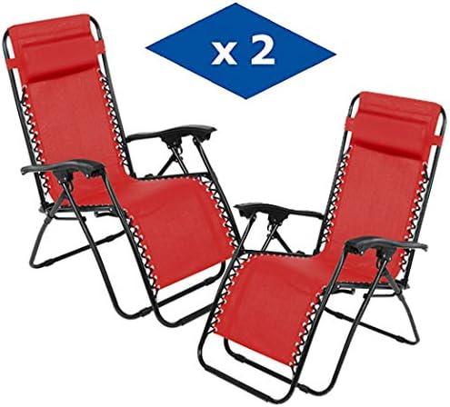 VIP HOGAR Pack 2 Tumbonas Plegables Multiposiciones, Sillas Relax Jardín o Exterior Gravedad Cero (Rojo): Amazon.es: Jardín