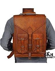 SKH 16 Inch Vintage Leather Macbook Briefcase 2-in-1 Leather School Bag Backpack Rucksack Mens Genuine Vintage...