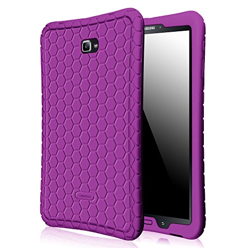 Fintie Silicone Case for Samsung Galaxy Tab A 10.1, [Honey Comb Series] Light Weight Shock Proof Silicone Cover [Anti Slip] [Kids Friendly] for Tab A 10.1 (NO S Pen Version SM-T580/T585/T587), Purple