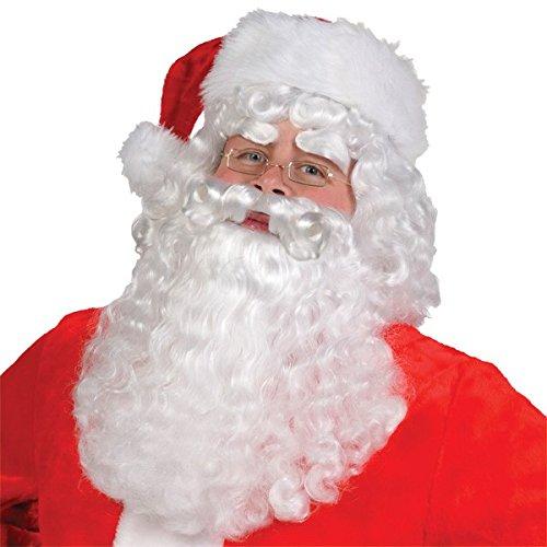 Santa Claus Wig & Beard (Amscan Fun-Filled Christmas and Holiday Party Santa Claus Wig & Beard Set (4 Piece), One Size, White)