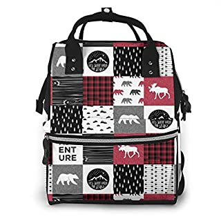 Happy Camper Bear and Moose Lumberjack Diaper Bag Backpack Waterproof Multi-Function Baby Changing Bags Maternity Nappy Bags Durable Large Capacity for Mom Dad Travel Baby Care