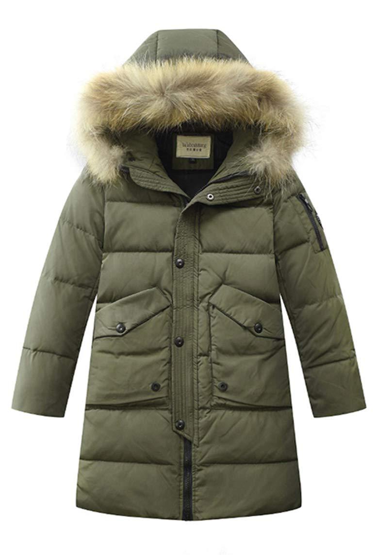 LISUEYNE Boys Kids Winter Hooded Down Coat Puffer Jacket for Big Boys Mid-Long 8, 15 Orange