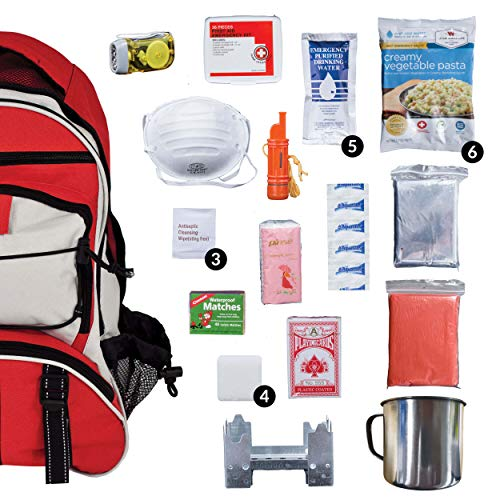 Wise Company Survival Kit, Food and Emergency Supply Backpack, Red (Best Food For Bug Out Bag)