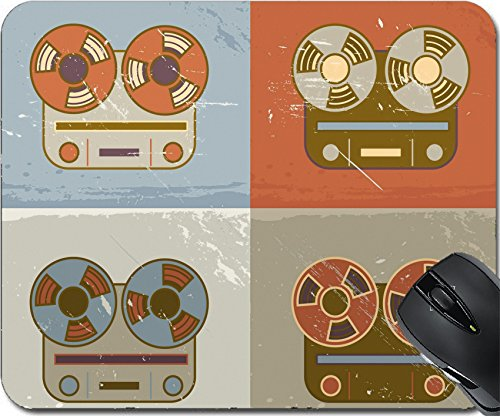 MSD Natural Rubber Mouse Pad Mouse Pads/Mat design 21853474 Retro vintage grunge reel to reel tape recorder icon