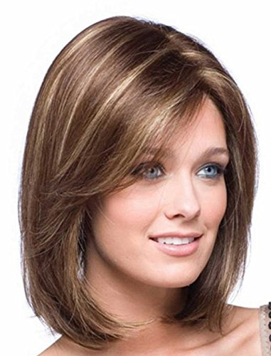 UPTOP Hair Synthetic Full Wig, Gold Shoulder Length Straight Synthetic Fabulous Medium Wig For Woman (Lightbrown to (Shoulder Length Hair)