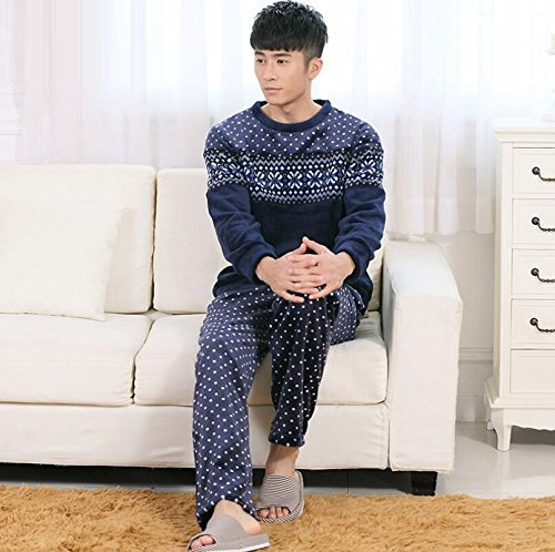 LJ&L Long Sleeve Sleeve Thicker Flannel Couple Home Breathable Serving Set Comfortable Bathrobe Pajamas,Men,XL by LIUJIANGLONG