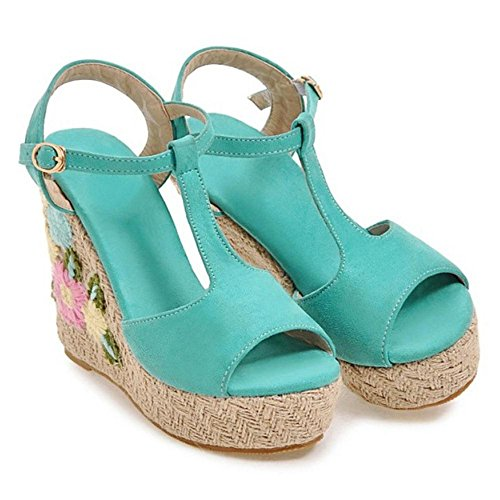 Coolcept Women Peep Toe Strap Sandals Blue K2rnghe
