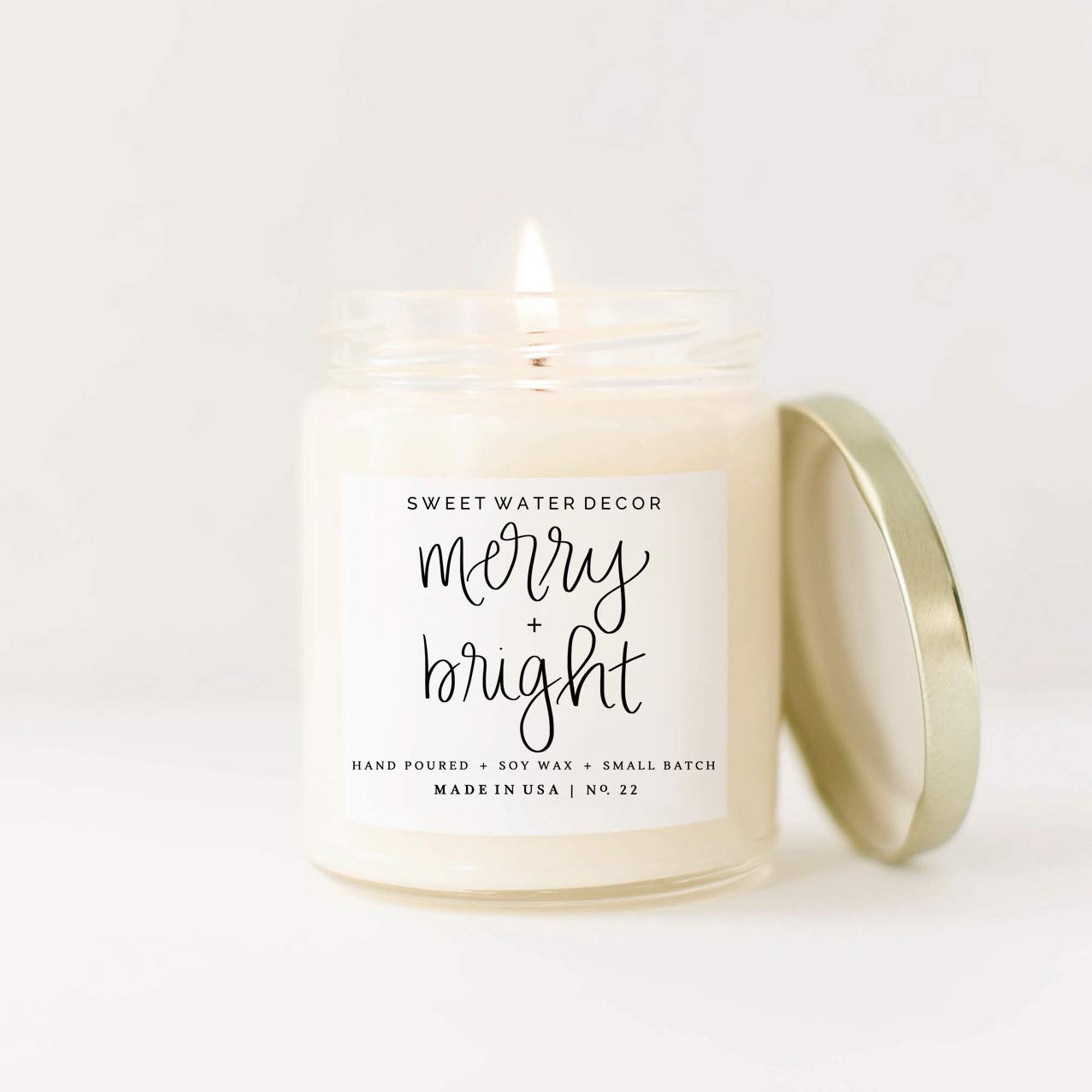 Merry and Bright Soy Wax Candle Glass Jar Scented Bayberry Cypress Cedar Balsam Fir Musk Fireplace Christmas Tree Holiday Home Fragrance Clove Nutmeg Ginger Tree Made in USA Stocking Stuffer Gift