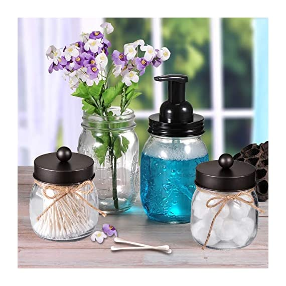 Mason Jar Bathroom Apothecary Jars - Rustproof Stainless Steel Lid,Farmhouse Decor,Bathroom Vanity Storage Organizer Holder Glass for Cotton Swabs,Rounds,Ball,Flossers,Bath Salts (Bronze, 2-Pack) - ✅The jars will be a fun,cute and beautiful addition to your home. Ideal home decor, rustic decor, western decor, bathroom decor, farmhouse decor, farmhouse style, western, rustic style, contemporary decor ✅This Mason storage jars are an attractive way to organize items like cotton swabs, cotton balls, flossers,bath salts,hair bands,or any other bathroom necessities and accessories. Plus they're simple and affordable to make! ✅ Materials: 8 oz. mason jars with regular mouth.Mental lids fits well, easy to open,durable and rust-proof.Please kindly note: The lid would not screw onto the jar, so it comes off very easily - organizers, bathroom-accessories, bathroom - 51BS5KwMQvL. SS570  -