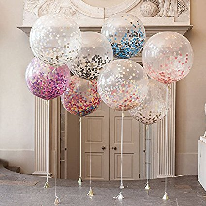 "AMAZING 36"" JUMBO Confetti Filled Balloons Latex filled with Multi colored Confetti for Weddings or Party Decorations pack of (5 Pcs)"