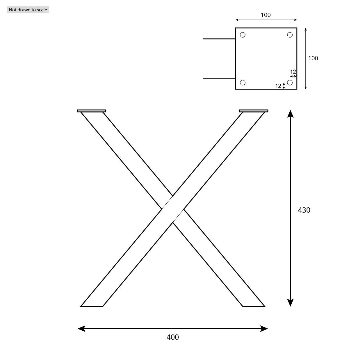 HLT-03-G-CC-0000 Acero pulido y lacado Tama/ño 60x72 cm HOLZBRINK 1x Pata de Mesa en Forma de X Perfiles de Acero 60x60 mm