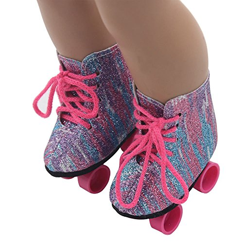 - Kariwell Doll Shoes 2019 Glitter Doll Roller Skates Straps Boots for 18 Inch Our Generation Doll