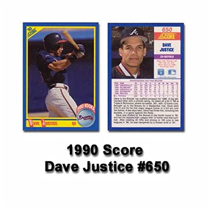 Amazoncom 1990 Score David Justice Rookie Card Sports Outdoors