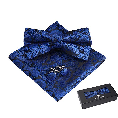 Blue Tie Royal Bow (AVANTMEN Men's Pre-Tied Paisley Bow Tie Pocket Square Cufflinks Set (Royal Blue))