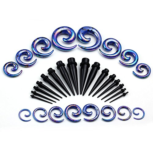 PiercingJ 32pcs Gauges Kit Acrylic Spiral Taper and Straight Taper 12G-1/2