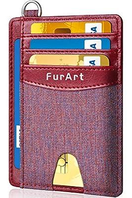 FurArt Slim Wallet, Credit Card Holder, RFID Blocking Minimalist Leather Front Pocket Wallets for Men Women