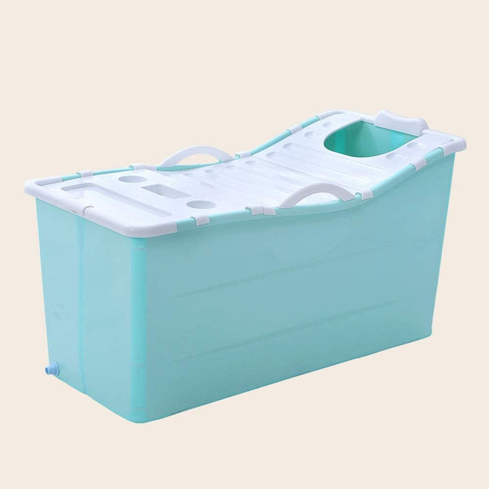 ZSLLO Bañera Bañera Plegable Bañera de baño para Adultos Bañera de plástico portátil Barril de baño Grande Bañera de Masaje para el hogar Bañera de hidromasaje Utensilios de baño (Color : Verde)