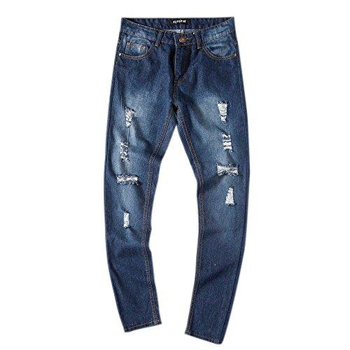 Slim Vintage Jeans Pantalon Trous Bleu Kaister Denim Hommes Style Coupe Cassés Droit FaqYxxUZw