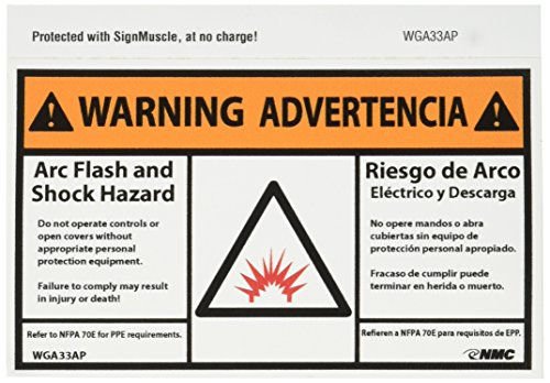 Bilingual Hazard Warning Labels (NMC WGA33AP Bilingual Arc Flash Label, Legend