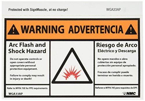 NMC WGA33AP Bilingual Arc Flash Label, Legend