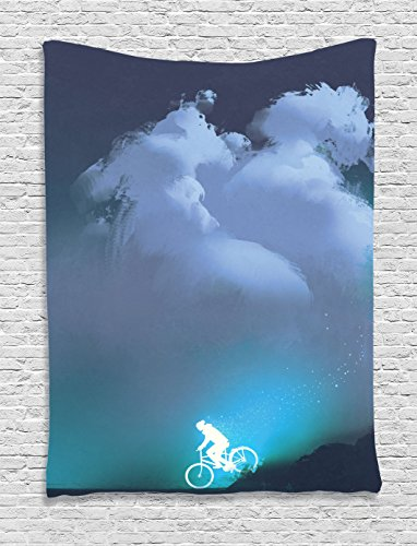Ambesonne Fantasy Art House Decor Tapestry by, Man Riding Bike on Hills against Night Sky Supernatural Graphic, Wall Hanging for Bedroom Living Room Dorm, 60WX80L Inches, Midnight Blue -