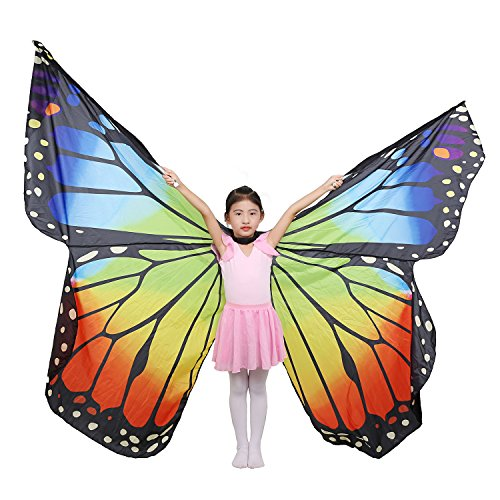 Dance Fairy Belly Dance Kids Butterfly Angel ISIS Wings With Telescopic Sticks (Rainbow-Child)