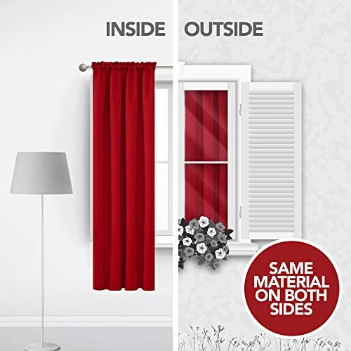 Deconovo Red Blackout Curtains Rod Pocket Drapes Window Curtains for Bedroom True Red 42W x 84L Inch 2 Panels 3