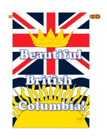 Breeze Decor - British Columbia Flags of the World - Everyday Canada Provinces Impressions Decorative Vertical House Flag 28