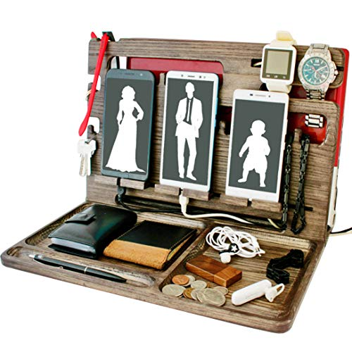 Wood Cell Phone Stand Watch Holder. Men Wireless Device Dock Organizer Mobile Base Nightstand Charging Docking Station. Women Accessories Wooden Storage. Bed Side Caddy Teen Valet (Frosty Cherry)
