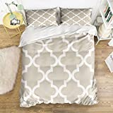 Ultra Soft 4 Pcs Bedding Sets Cotton Modern Luxury Bedding Grey Geometry Lattice Printed Home Comforter Bedspread Duvet Cover Set Full Size By KAROLA