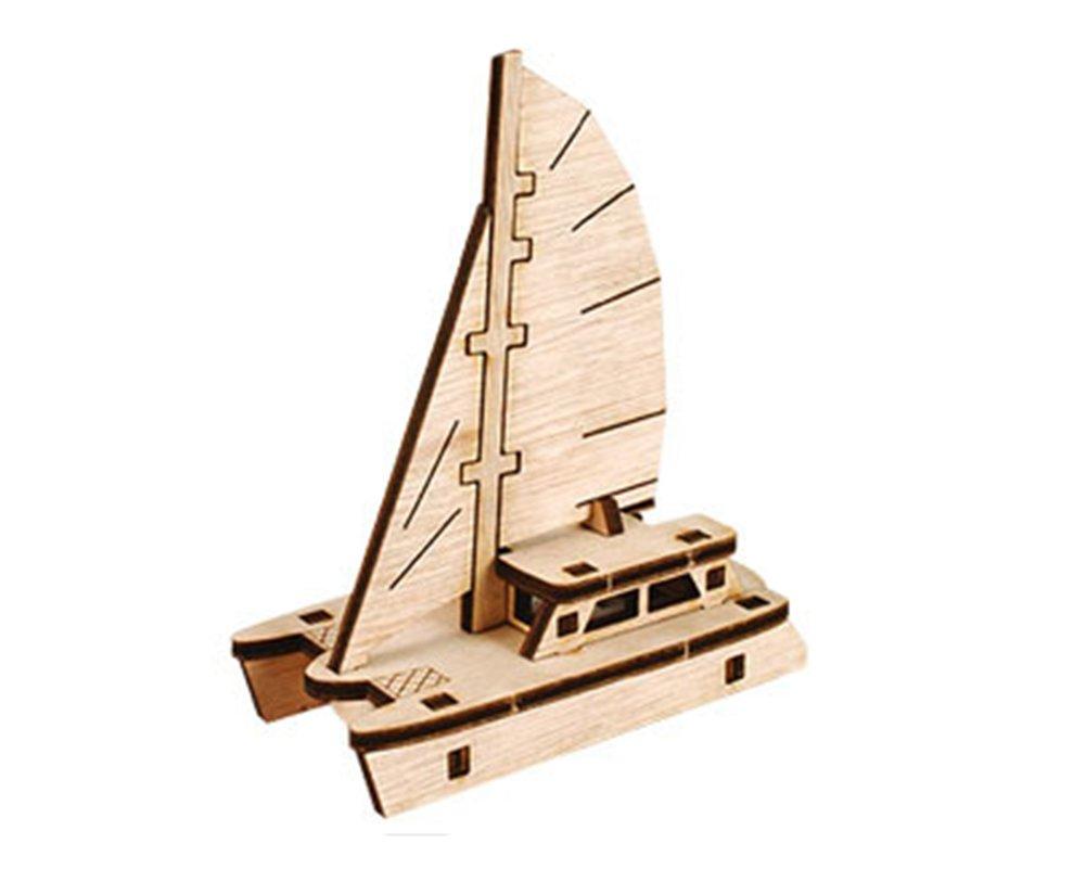 Young Modeler Run Serises Desktop Wooden Model Kitrun Catamaran