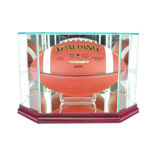 Perfect Cases NFL Octagon Football Glass Display Case, Cherry ()