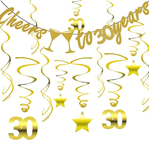 Gold 30th Birthday Party Decorations KIT - Cheers to 30 Years Banner, Sparkling Celebration 30 Hanging Swirls, Perfect 30 Years Old Party Supplies 30th Anniversary Decorations]()