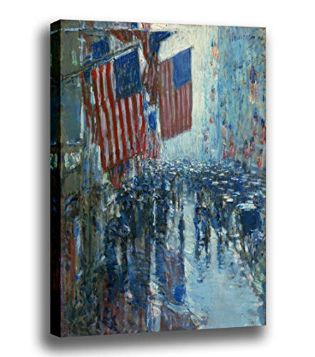 - Canvas Print Wall Art - Rainy Day,Fifth Avenue- by Childe Hassam - Giclee Prints Stretched in Gallery Wrap Style with Mirrored Edges - 14x16 inch