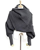 Foxnovo Fashion Korean Style Autumn Winter Unisex Knitted Scarf Cape Shawl with Sleeves (Dark Grey)