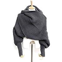 Foxnovo Fashion Korean Style Autumn Winter Unisex Knitted Scarf Cape Shawl with Sleeves (Dark Grey)