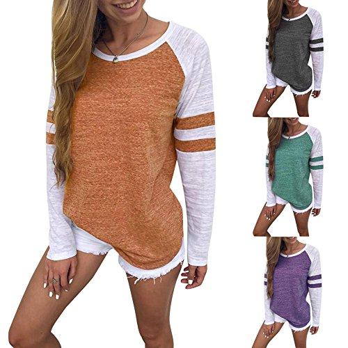 Hpapadks Women's Stitching Long Sleeves,2018 Fashion Women Ladies Long Sleeve Splice Blouse Tops Clothes ...