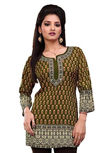 Women's Printed Long Sleeve Indian Kurti Tunic / Top 3XL(48) Olive Green