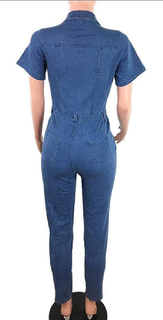 HTOOHTOOH Women Short Sleeve Denim Jeans Jumpsuit Bodysuit Romper Playsuits