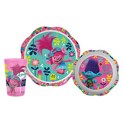 Trolls Zak Designs 3pc Kids Children Toddler Dreamworks Dinnerware Set Kit ()