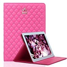 iPad Air Case, with Little Crown Decoration, elecfan Full Body Protective Case, Folio Book Cover Design, Smart Stand Case Cover Shell for iPad Air/iPad Air 2/2017&2018 iPad 9.7 - Hot Pink