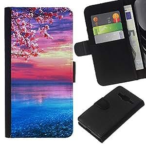 LECELL--Cuero de la tarjeta la carpeta del tirón Smartphone Slots Protección Holder For Samsung Galaxy Core Prime -- flor de cerezo --