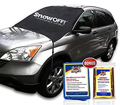 SnowOFF Car Windshield Snow Cover Sun Shade Protector - Windproof Straps, Wings, Suction Cups, Magnets - BONUS Demist Cloth + Blanket - Winter Ice Rain Frost Guard Automotive Hood Covers - 2 Sizes