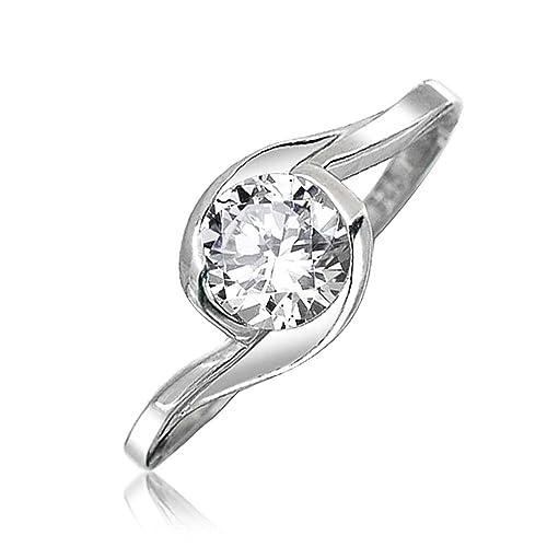 Bling Jewelry Juego de Moldura Plata Esterlina Solitaire CZ Twist Anillo de Compromiso: Amazon.es: Joyería