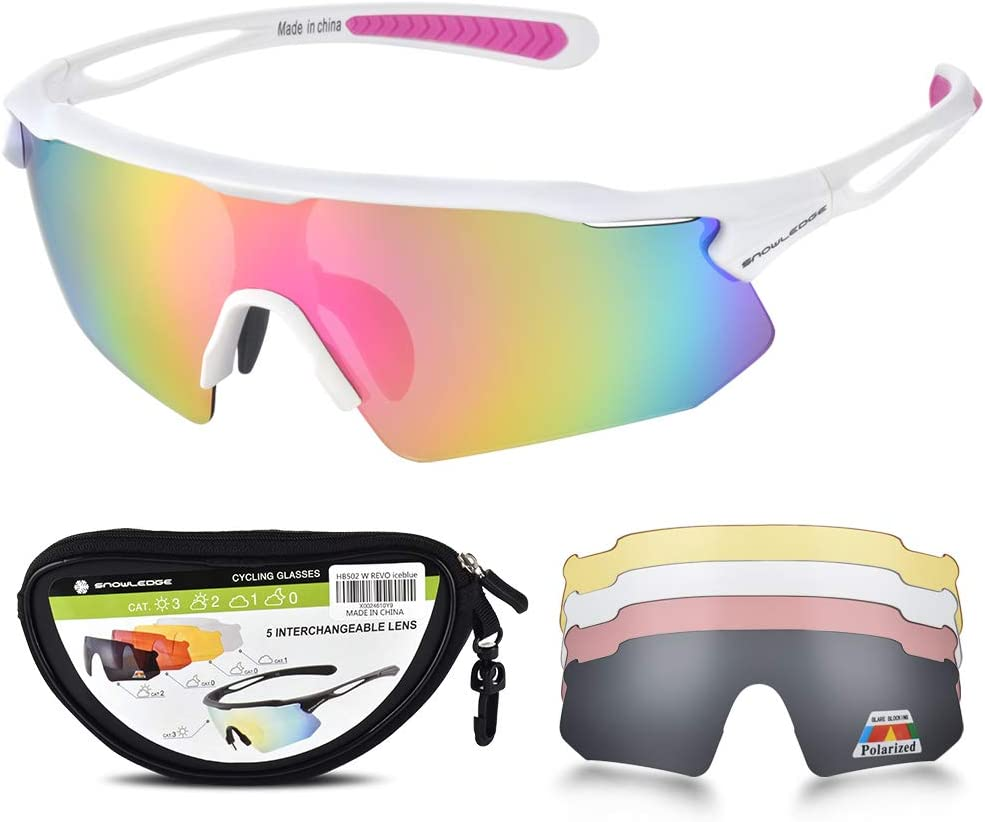 Snowledge Cycling Glasses for Men Women with 5 Interchangeable Lenses,TR90 Sport Sunglasses for Men for Cycling,UV400 Polarized Sunglasses Sports Sunglasses for Men Women