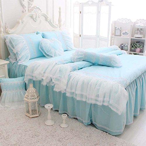 Tidetex 4Pc Lace Flouncing Bed Skirt Girls Fairy Bedding Sets Fresh Blue Bedding Sets 100 Cotton Home Textiles Romantic European Rural Style Duvet Cover  King  Blue