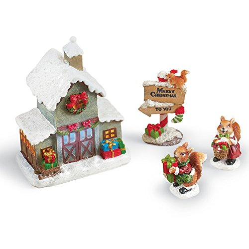 Collections Etc Squirrel Family Christmas Village Decoration